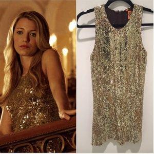 Gossip Girl Tory Burch Gold Sequin Shift Dress L